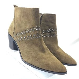 Lucky Brand Womens Brown Suede Booties Ankle Boots